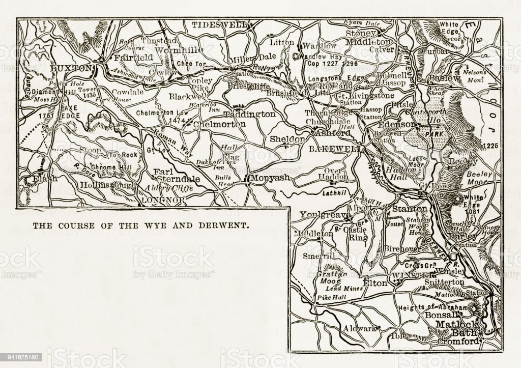 Map Of England Derbyshire.Map Rivers Wye And Derwen Derbyshire England Victorian Engraving