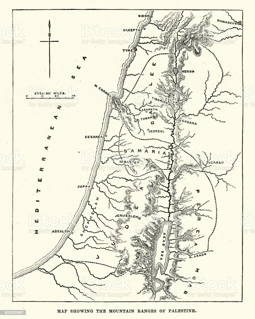Image of: Map Showing The Mountain Ranges Of Palestine Stock Illustration Download Image Now Istock