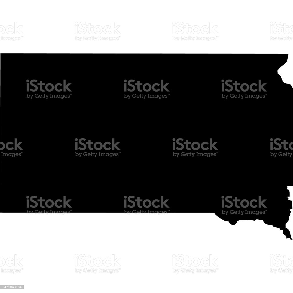 Map South Dakota vector art illustration