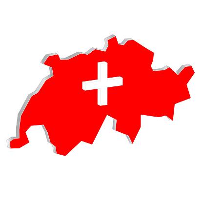 Map Switzerland 3D isolated on white