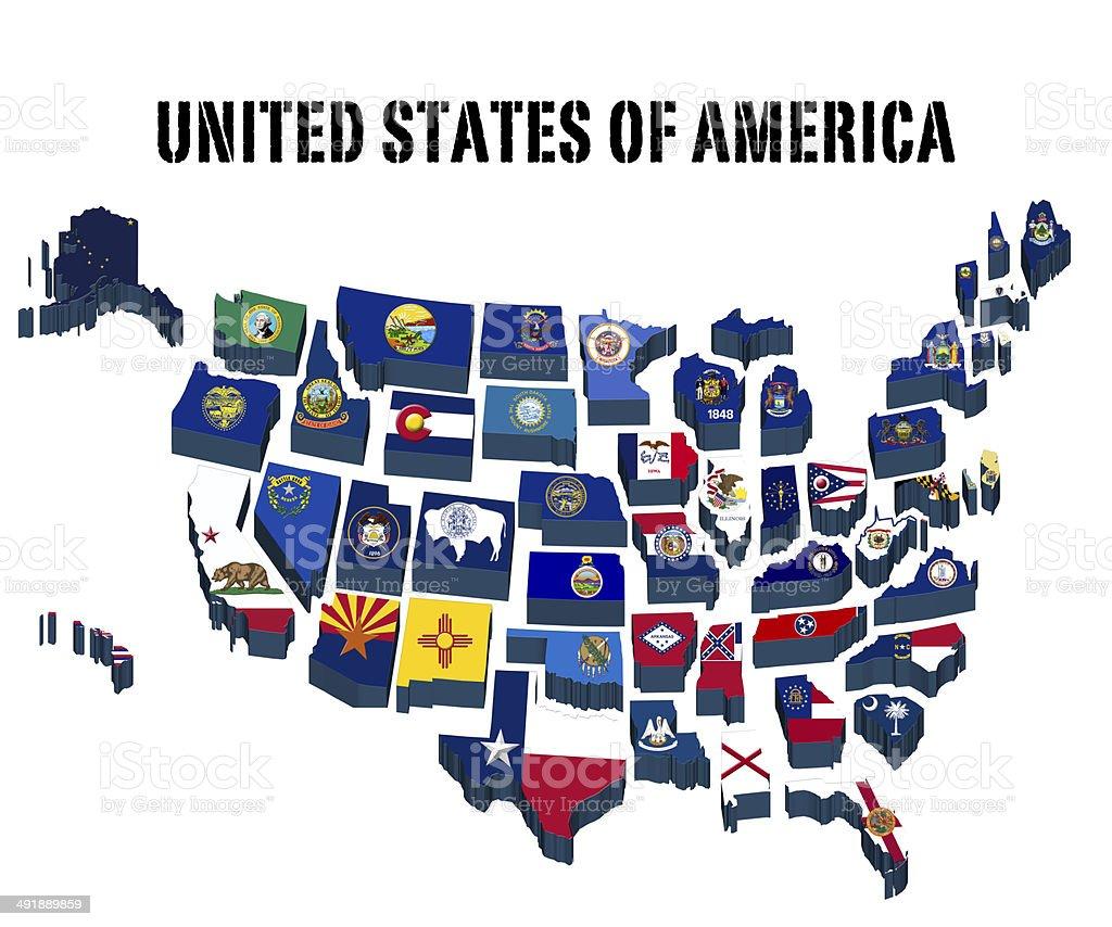 3 D Mapa dos Estados Unidos da América com todas as bandeiras Estado - ilustração de arte em vetor