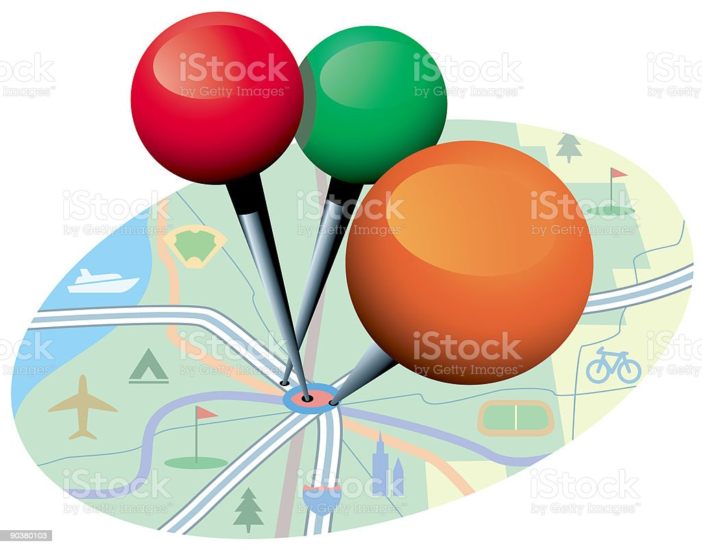 map with 3 pins.eps royalty-free map with 3 pinseps stock vector art & more images of business travel