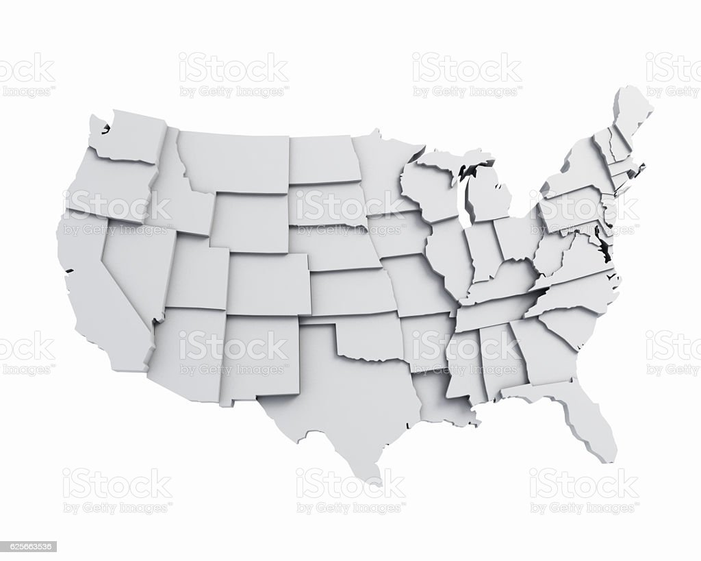 3D USA Map with states in different plane elevations vector art illustration