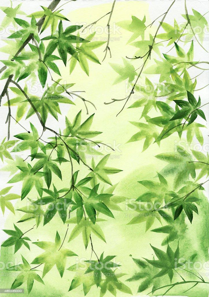 Maple leaves background vector art illustration