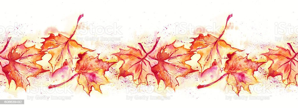 Maple Leaves Seamless Garland vector art illustration