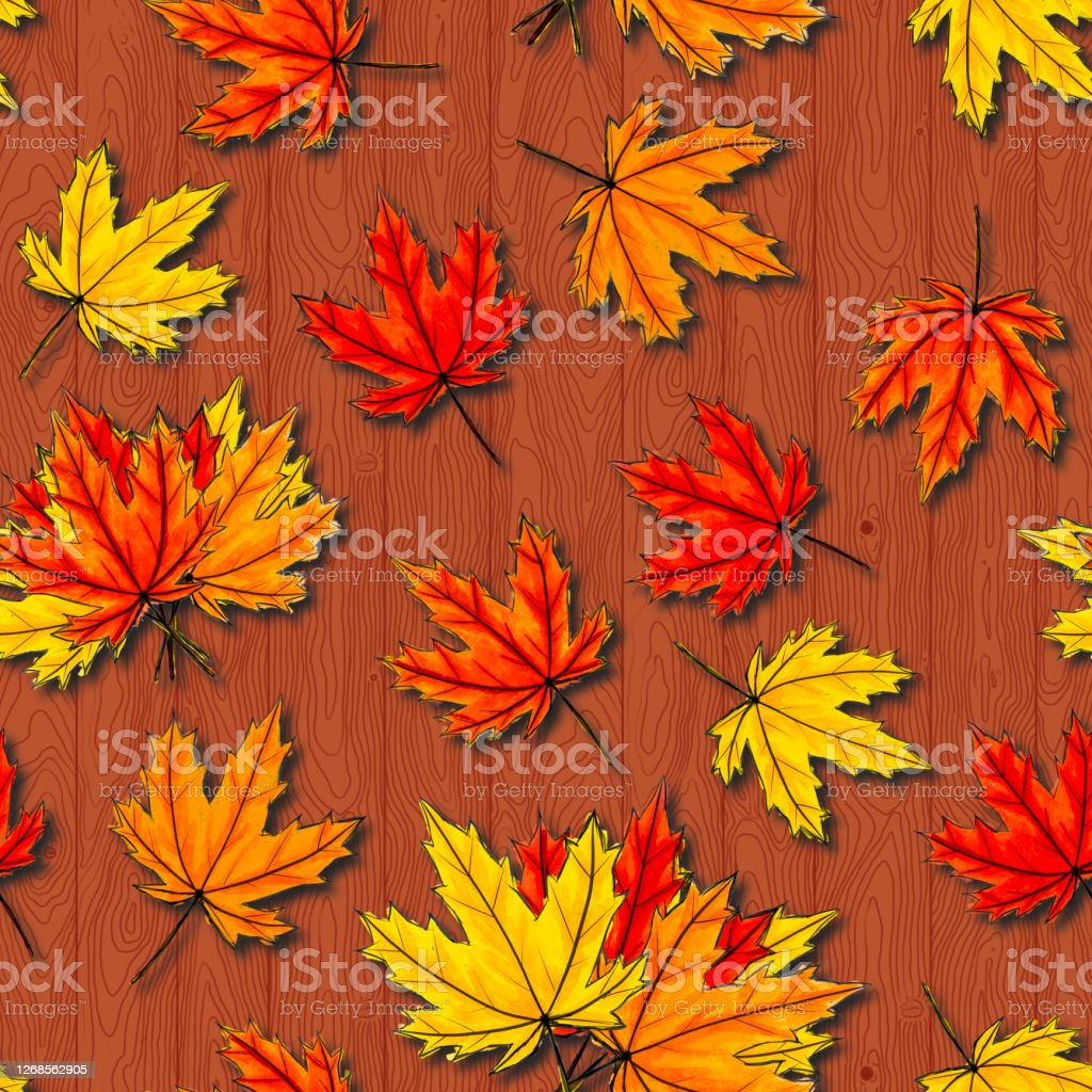 Maple Leaves Seamless Pattern On Brown Wood Background Autumn Foliage Of  Deciduous Tree Lying On Ligneous Texture Fall Season Orange Red Yellow ...