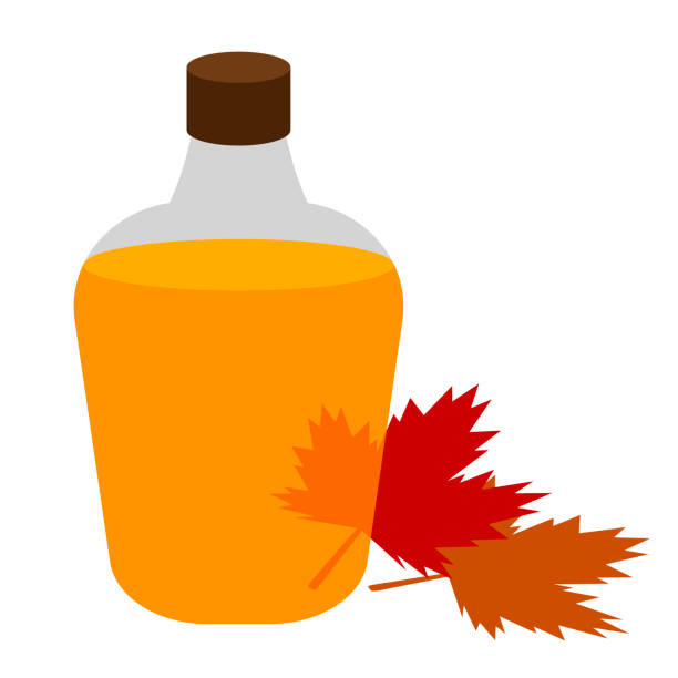 Maple syrup Bottle of maple syrup. maple syrup stock illustrations