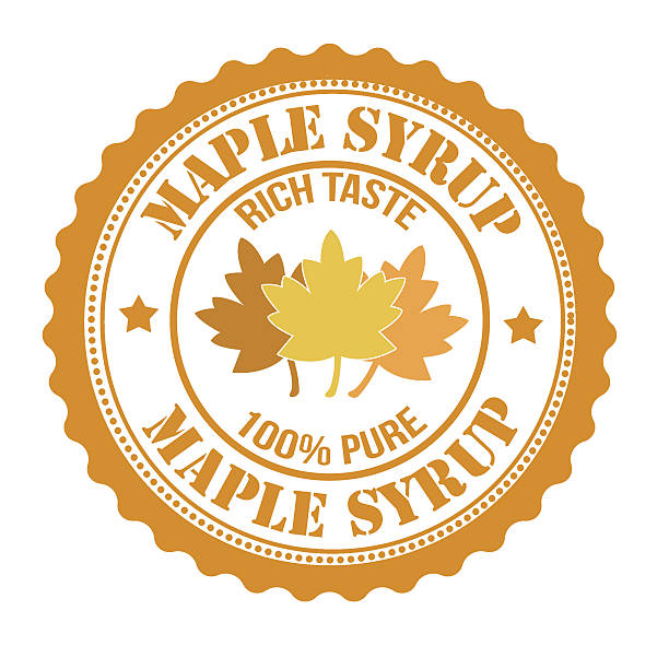 Maple syrup stamp Maple syrup stamp or label on white maple syrup stock illustrations
