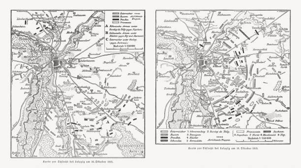 bildbanksillustrationer, clip art samt tecknat material och ikoner med kartor över slaget vid leipzig, napolionic krig, publicerad 1813, 1897 - germany map leipzig