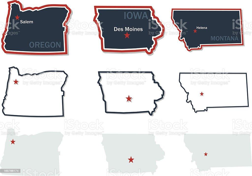Maps of US States vector art illustration