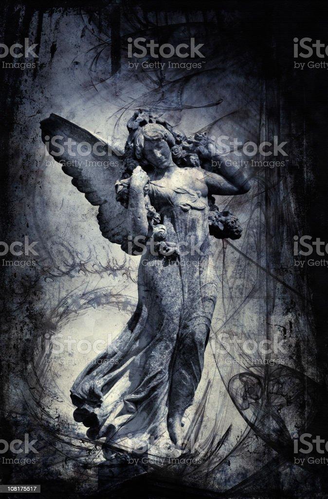Estatua del ángel de mármol con borde negro - ilustración de arte vectorial