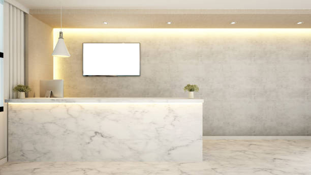 marble counter reception for hotel - hotel reception stock illustrations