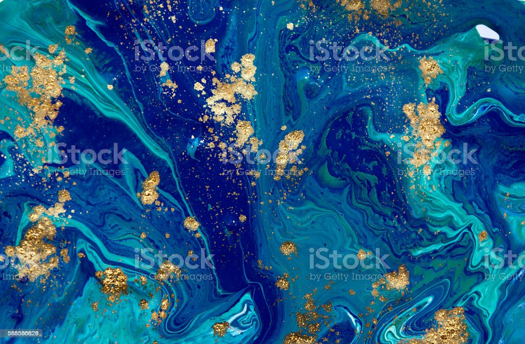 Marbled blue abstract background. Liquid marble pattern. Marbling acrylic texture vector art illustration