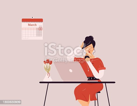 istock March 8 International Women's Day.Cute blonde woman in red work on laptop 1300630939