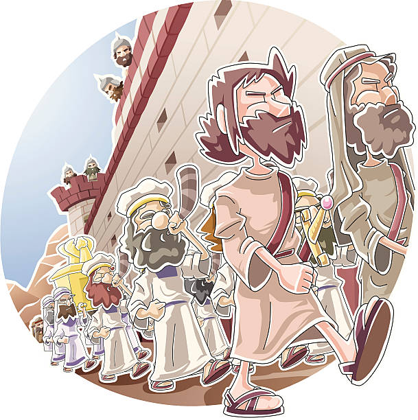 March around the wall of Jericho vector art illustration