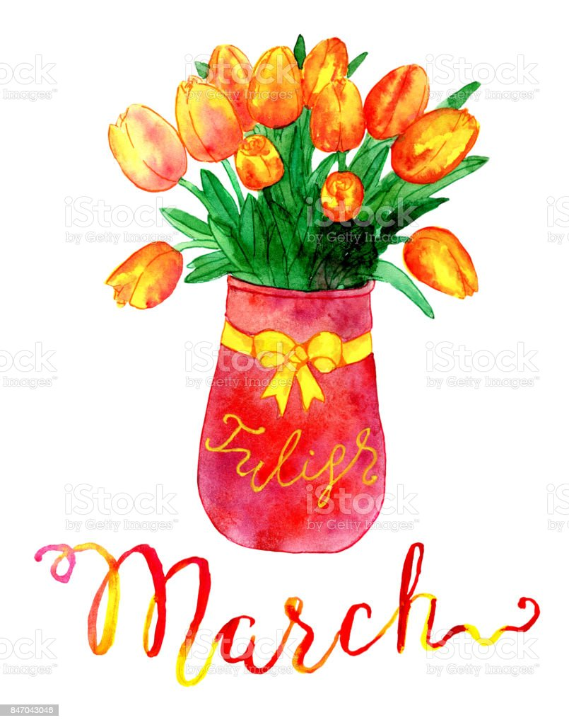 March month bunch of tulips in vase stock vector art more images bunch of tulips in vase royalty free march month bunch of tulips floridaeventfo Gallery