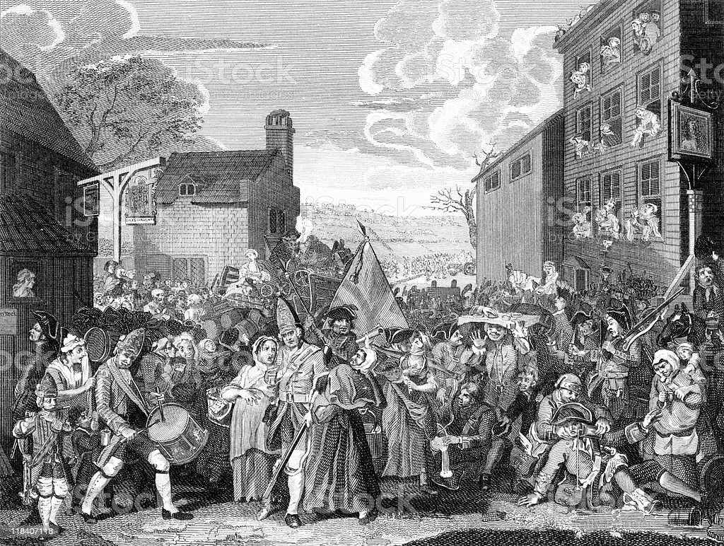 March of the Guards to Finchley, by William Hogarth vector art illustration