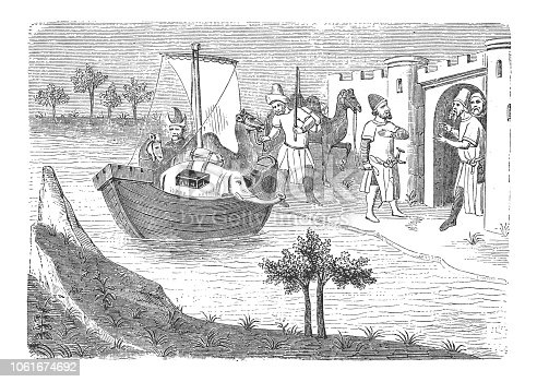 Illustration of Marco Polo and his brother return via Ormuz in a boat - they bring with them an elephant