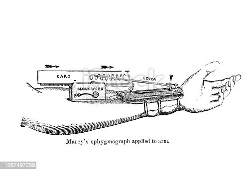 istock Marey's sphygmograph applied to arm in the old book Human phisiology by H. Chapman, Philadelphia, 1887 1267497259