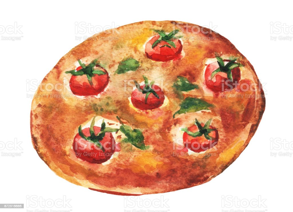 Margarita pizza. Handmade watercolor painting illustration on a white paper art background. vector art illustration