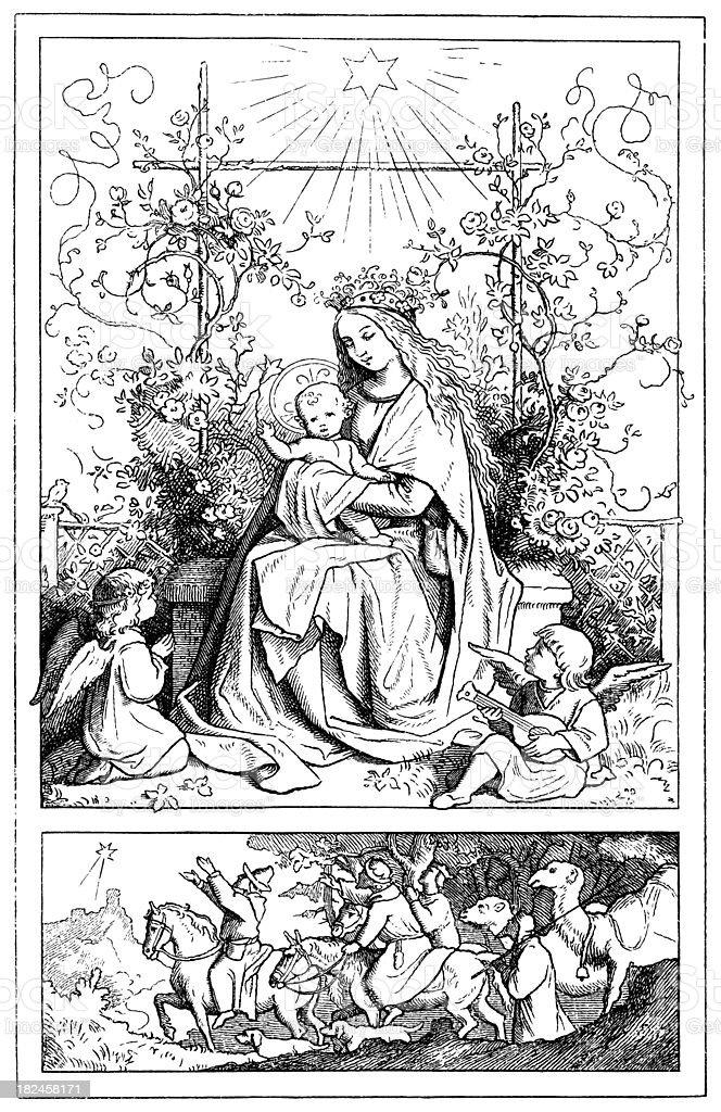 Maria y el niño ilustración de maria y el niño y más banco de imágenes de adorno de navidad libre de derechos