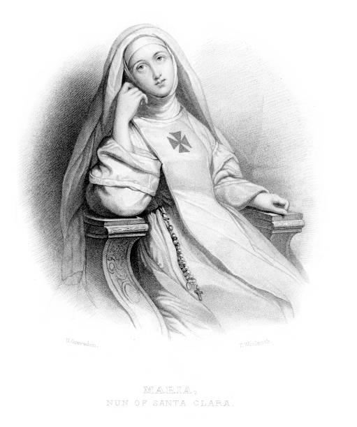 ilustraciones, imágenes clip art, dibujos animados e iconos de stock de maria monja de santa clara - hermana