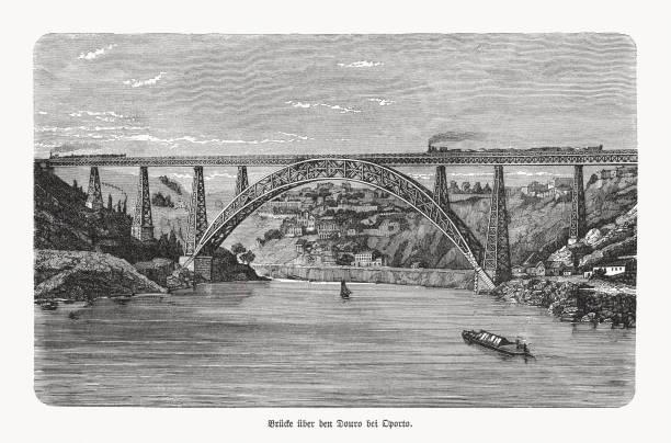 ilustrações de stock, clip art, desenhos animados e ícones de maria pia bridge, porto, portugal, wood engraving, published in 1893 - douro