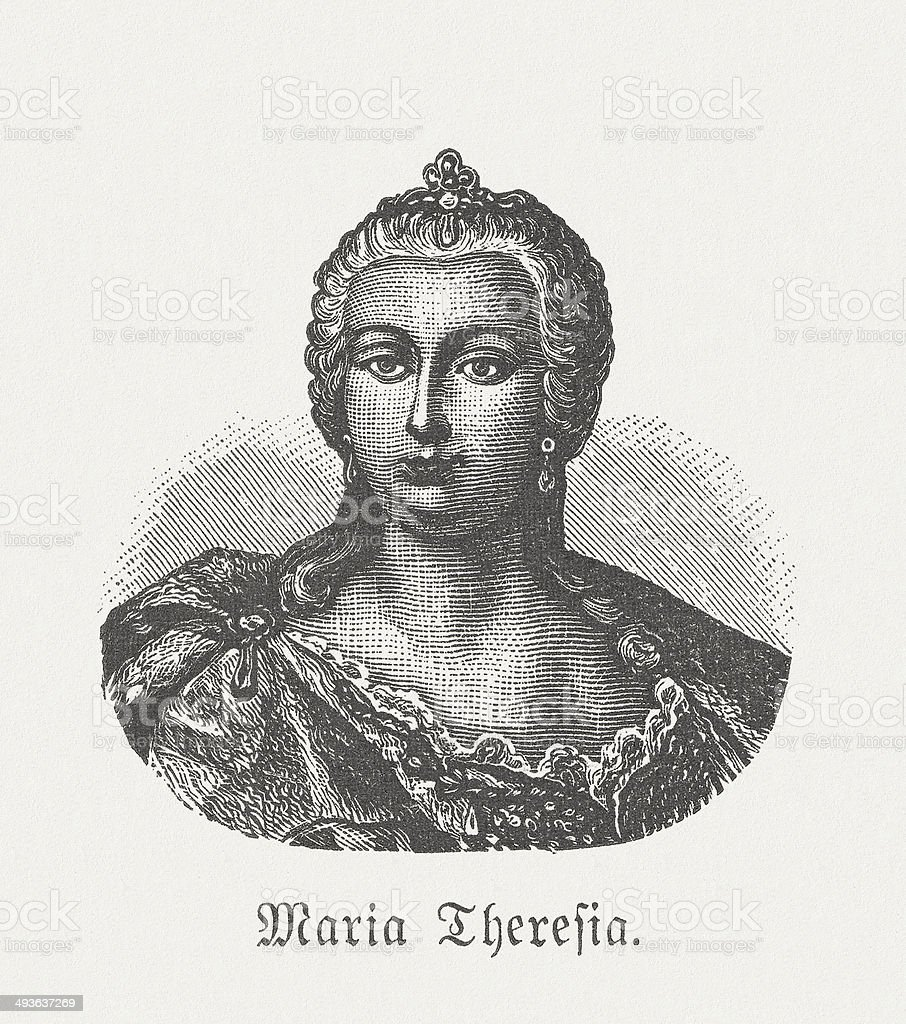 Maria Theresa of Austria (1717-1780), wood engraving, published in 1881 royalty-free stock vector art