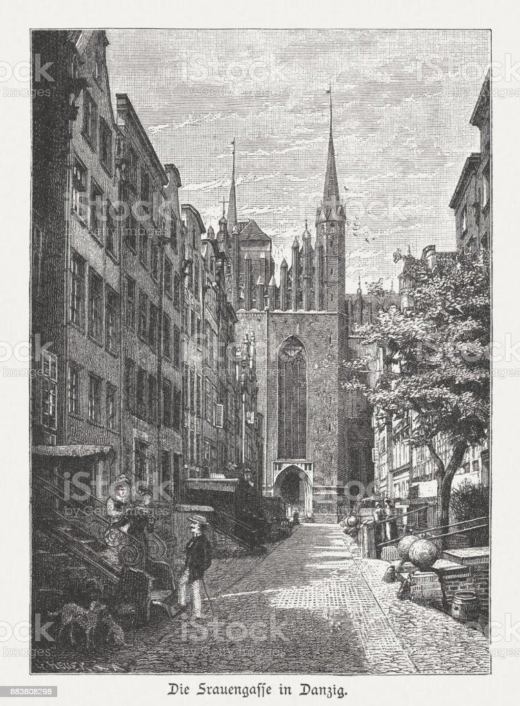 Mariacka Street (Frauengasse), Gdansk (Danzig), Poland, wood engraving, published 1884 vector art illustration