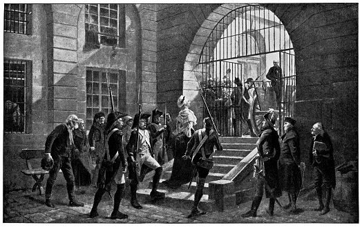 Marie Antoinette being led by guards to her execution at the Conciergerie in Paris, France (circa 18th century). Vintage half tone etching circa 19th century.