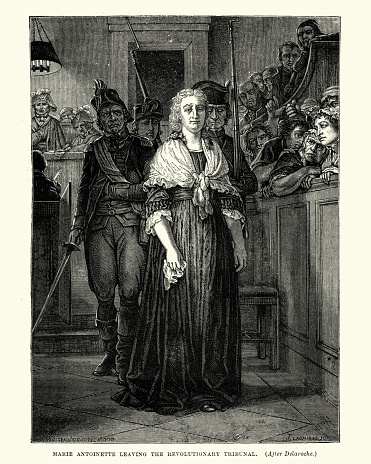 Vintage engraving of Marie Antoinette leaving the Revolutionary Tribunal during the French Revolution