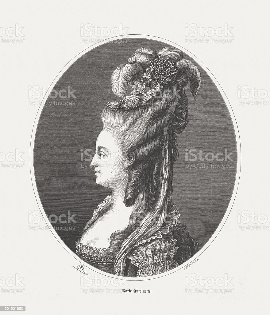 Marie Antoinette (1755-1793), wood engraving, published in 1873 vector art illustration