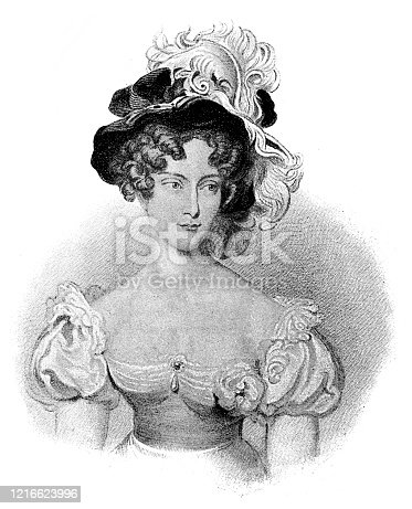 Illustration of a Marie Louise Élisabeth d'Orléans, Duchess of Berry (20 August 1695 in Palace of Versailles – 21 July 1719 in Paris), was a member of the House of Orléans who married Charles, Duke of Berry.