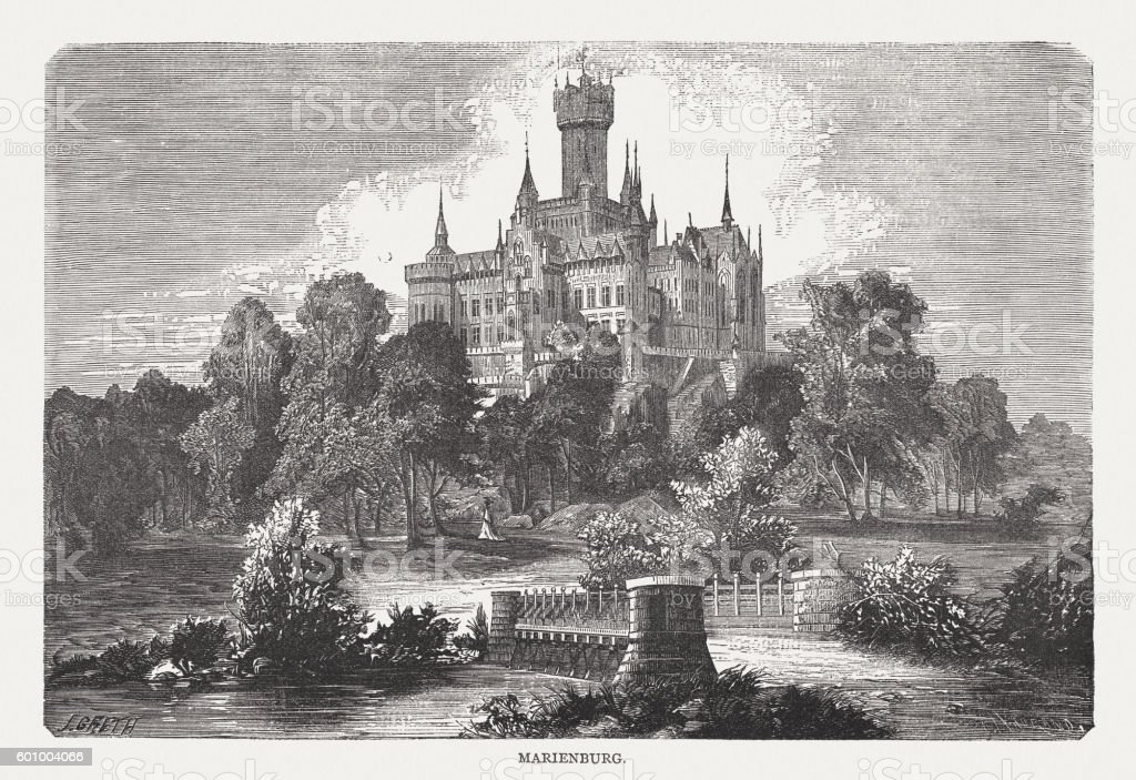 Marienburg Castle in Lower Saxony, Germany, wood engraving, published 1877 vector art illustration