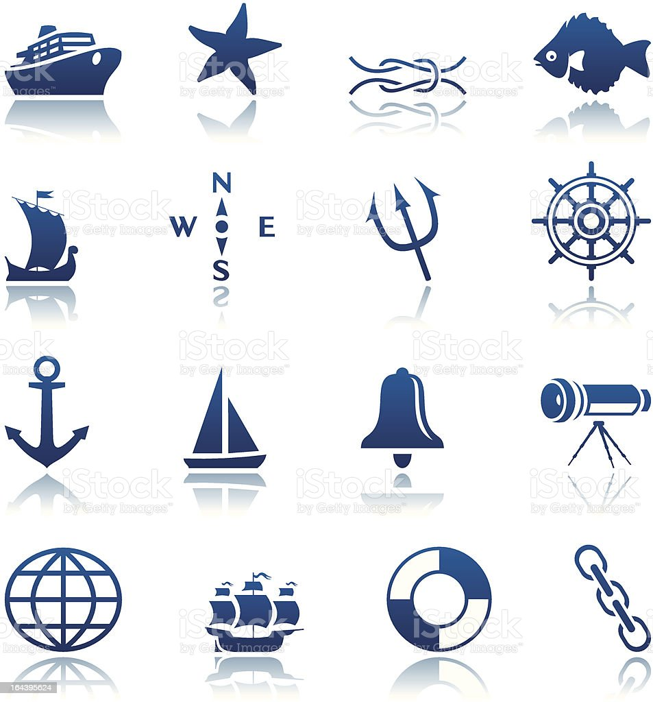 Marine icon set vector art illustration