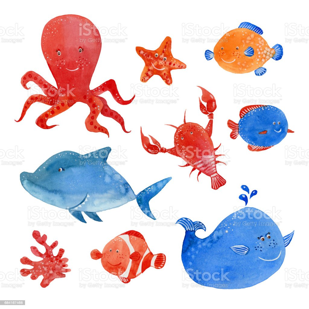 marine inhabitants set royalty-free marine inhabitants set stock vector art & more images of animal