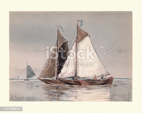 Vintage painting of Marine painting, Dutch botters on the Scheldt, 19th Century, by Walter William May. Botters are fast sailing ships that are intrinsically suited for sailing in the shallow waters