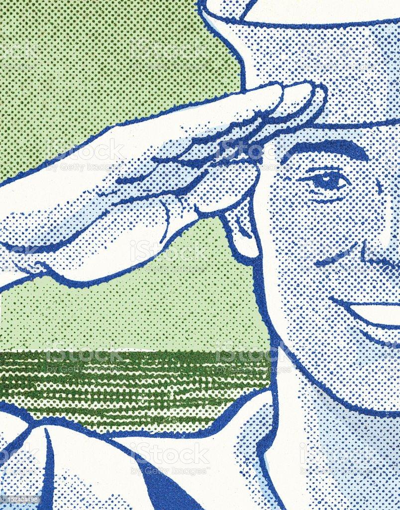 Marine Saluting royalty-free stock vector art
