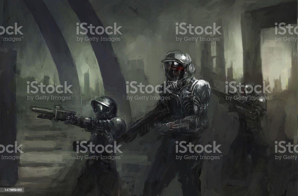 marines vector art illustration