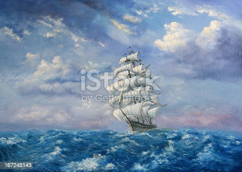 Painting. A canvas, oil, my own artwork. The sailing vessel is floating on the storming sea.