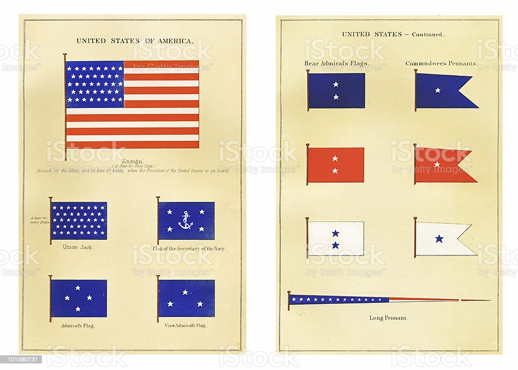 U.S. Maritime Flags, circa 1876 vector art illustration