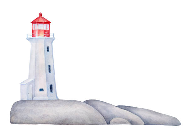 Maritime lighthouse tower on rock stones island. Hand painted water color graphic drawing on white with copy space, cutout clipart design element for marine card, banner, frame, border, poster, decor. Hand drawn watercolor illustration. peggy's cove stock illustrations