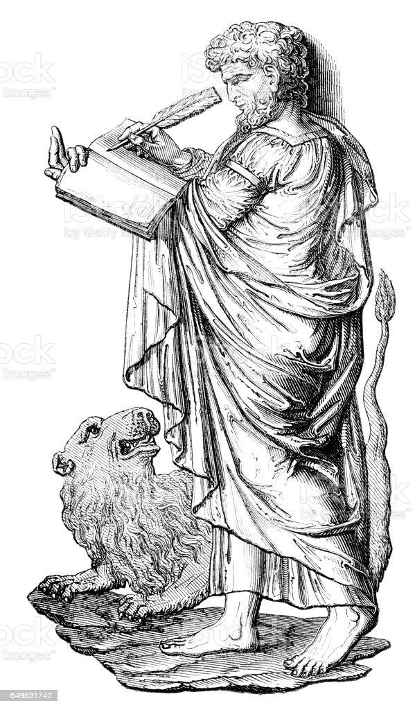 Mark the Evangelist illustration 1844 vector art illustration
