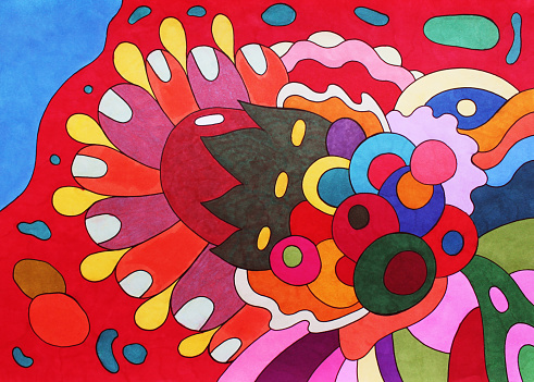 Marker drawing background. Abstract colorful hand drawn colorful texture. Bright multicolor backdrop for graphic design