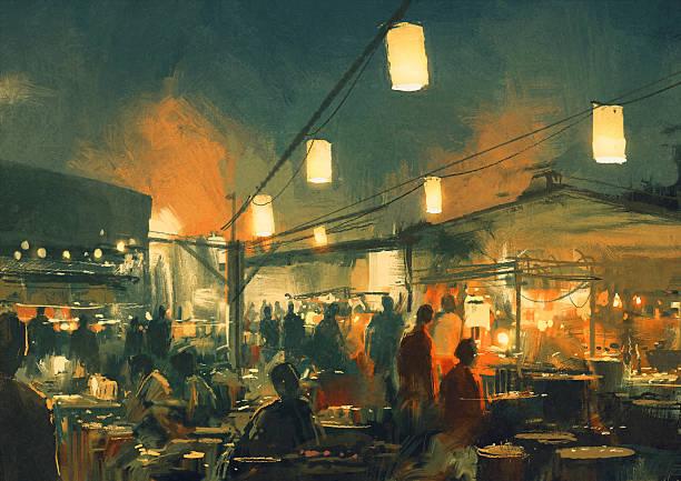 Marché de nuit, illusttation - Illustration vectorielle