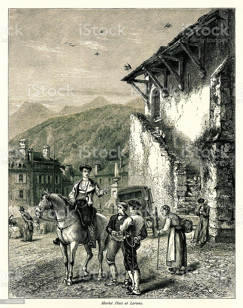 Market place at Laruns, France I Antique European Illustrations royalty-free stock vector art