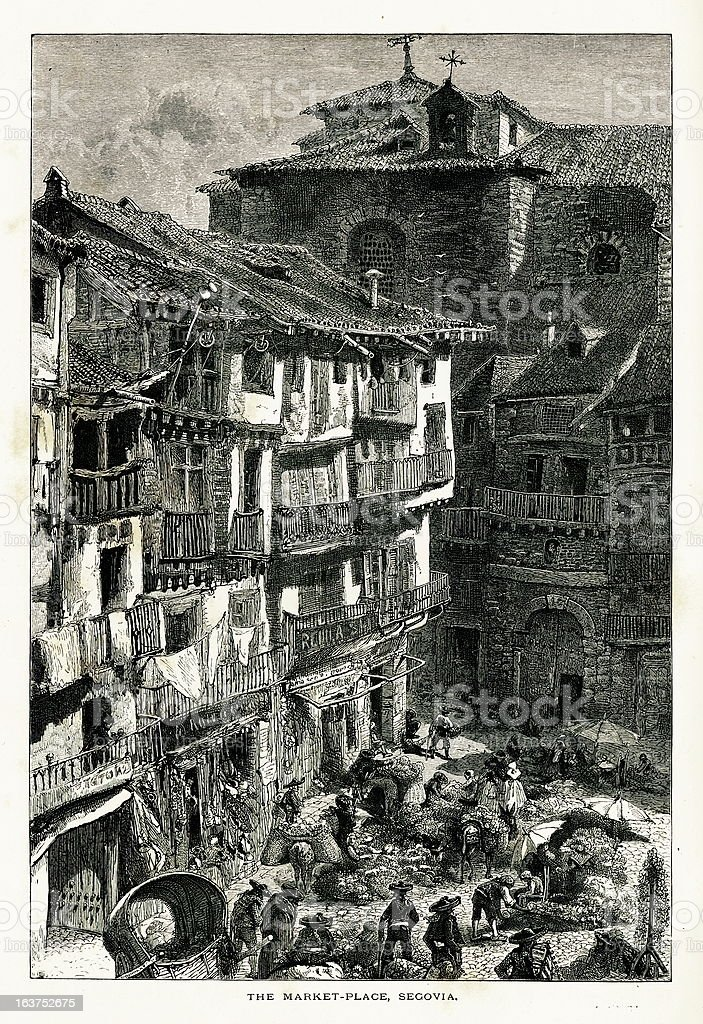 Market place at Segovia, Spain I Antique European Illustrations royalty-free market place at segovia spain i antique european illustrations stock vector art & more images of 19th century