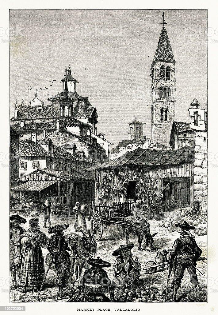 Market place at Valladolid, Spain I Antique European Illustrations royalty-free stock vector art