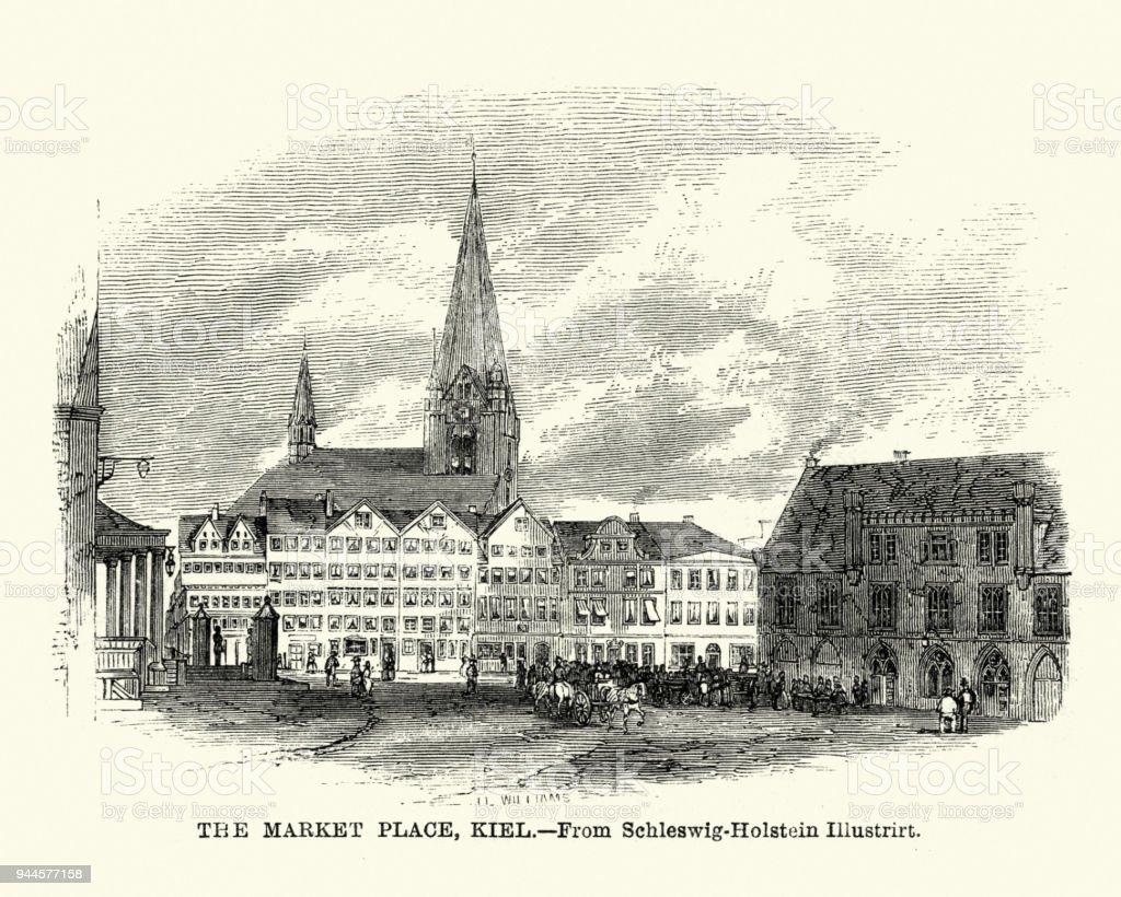 Market place of Kiel, Germany 19th Century vector art illustration