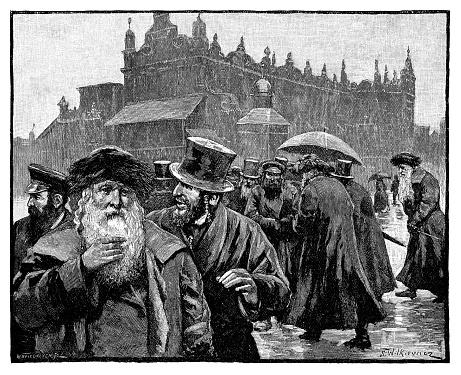 Market square in Krakow, Poland,  - Scanned 1890 Engraving